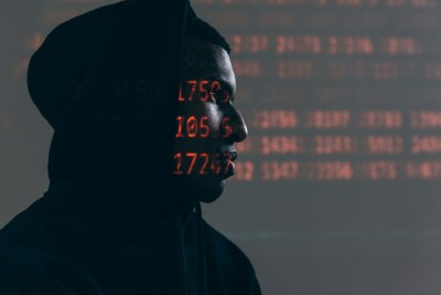 Numbers projected on face